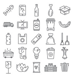 Garbage rubbish icons set outline style vector