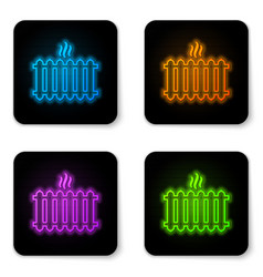 glowing neon heating radiator icon isolated on vector image