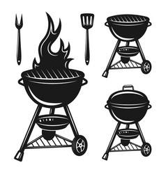 grill set of objects and design elements vector image