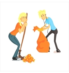 Guy And Girl Picking Leaves vector