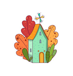 hand drawn fairy house with windmill on roof vector image