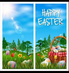 happy easter vertical banner on grass background vector image
