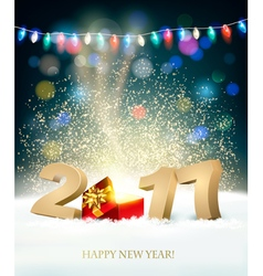 Happy New Year 2017 background with a magical gift vector image