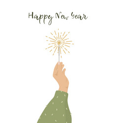 happy new year greeting card womans hand holding vector image