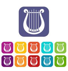 Harp icons set vector