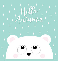 hello autumn polar white little small bear cub vector image