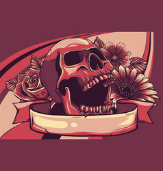 human skull with flower color vector image