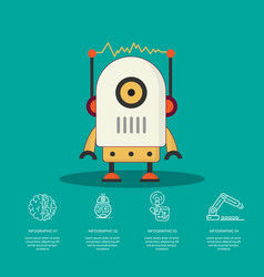 Intelligent robot with infographic design vector