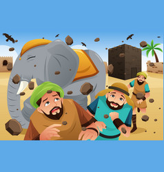 Islam story of the owners of the elephant vector