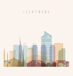 islamabad skyline detailed silhouette vector image