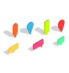 isometric 3d pin pointer for map icons of vector image