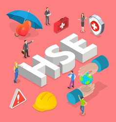 Isometric flat concept hse health vector