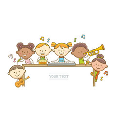 kid musicians and whiteboard vector image