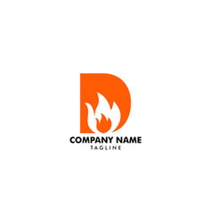 letter d with flame fire logo design vector image