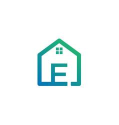 Letter e architect home construction creative vector