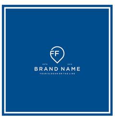 Letter ff pin logo design vector