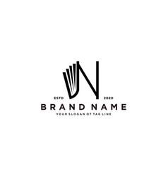 Letter n and book logo design vector