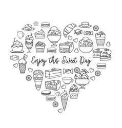 linear icons of sweets enjoy this sweet day vector image