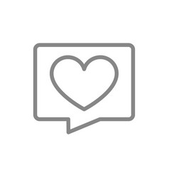 Love message line icon heart in speech bubble vector