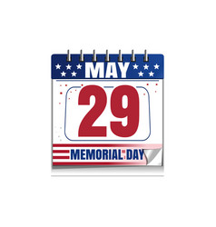 memorial day calendar 2017 vector image