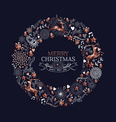 Merry christmas copper deer decoration wreath vector