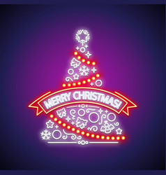 merry christmas tree neon sign vector image