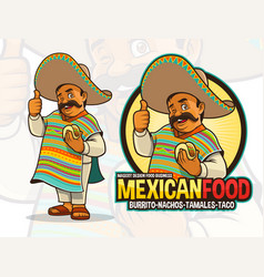 mexican mascot for taco restaurant vector image