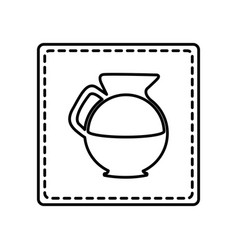 Monochrome contour square and dotted line with vector