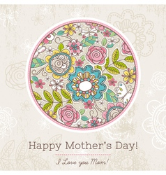 Mothers Day card with big round of spring flowers vector image