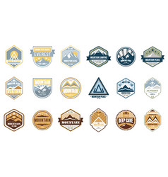 mountain camping logo set alpinist mountain vector image