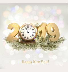 New year holiday background with a 2019 and clock vector