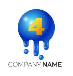 Number four splash logo blue dots and bubbles vector