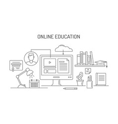 Online education and e-learning concept vector