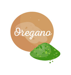Oregano spices powder and text vector