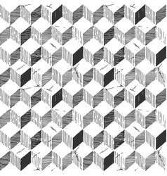 Pattern with necker cube vector