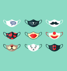 protective masks with cool drawings set stylish vector image