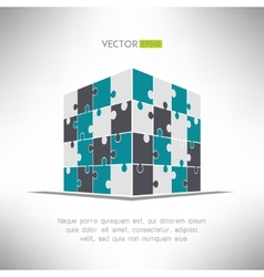 Puzzle cube in pespective Building construction vector