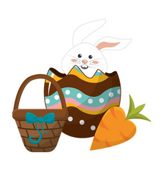 Rabbit inside egg with hamper and carrot vector