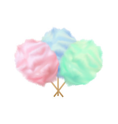 realistic detailed 3d color cotton candy set vector image