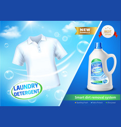 Realistic laundry detergent ad poster vector