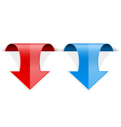 Red and blue 3d down sticker arrow with vector