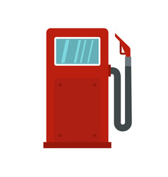 Red gasoline pump icon flat style vector