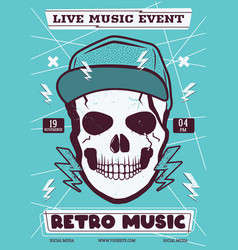 retro rock music flyer live event poster vector image