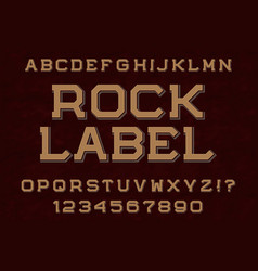 Rock label typeface font isolated alphabet vector