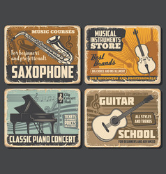 Saxophone guitar piano and violin vector