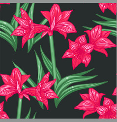 Seamless amaryllis floral hand-drawn vector