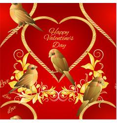 seamless texture little golden birds and heart vector image