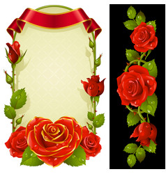 set floral decoration red roses green leaves vector image