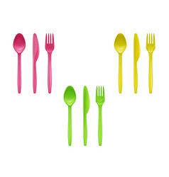 Set of colorful disposable tableware vector