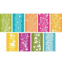 Set Of Nine Spring Flowers Vertical Seamless vector image